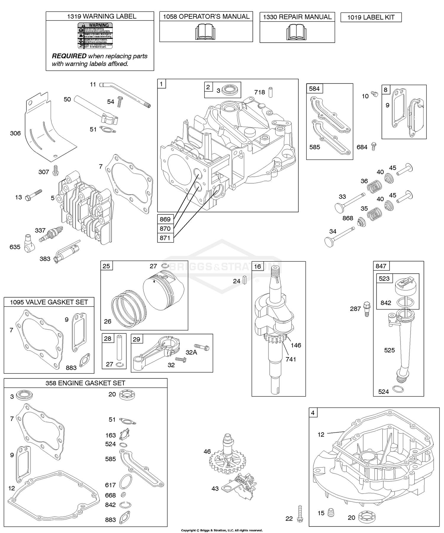 Briggs And Stratton 123h02 0110 B1 Camshaft Crankshaft Cylinder Engine Diagram Sump Kit Gasket Lubrication Piston