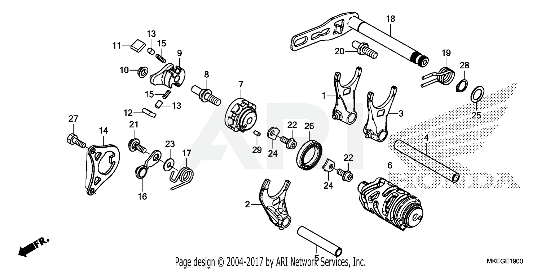 2019 honda crf450l gearshift drum parts best oem gearshift drum