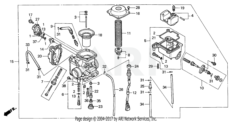 2000 Honda CARBURETOR FourTrax Foreman 450 ES TRX450 Parts Diagram: | Trx 450 Carb Wiring Diagram |  | Bike Bandit