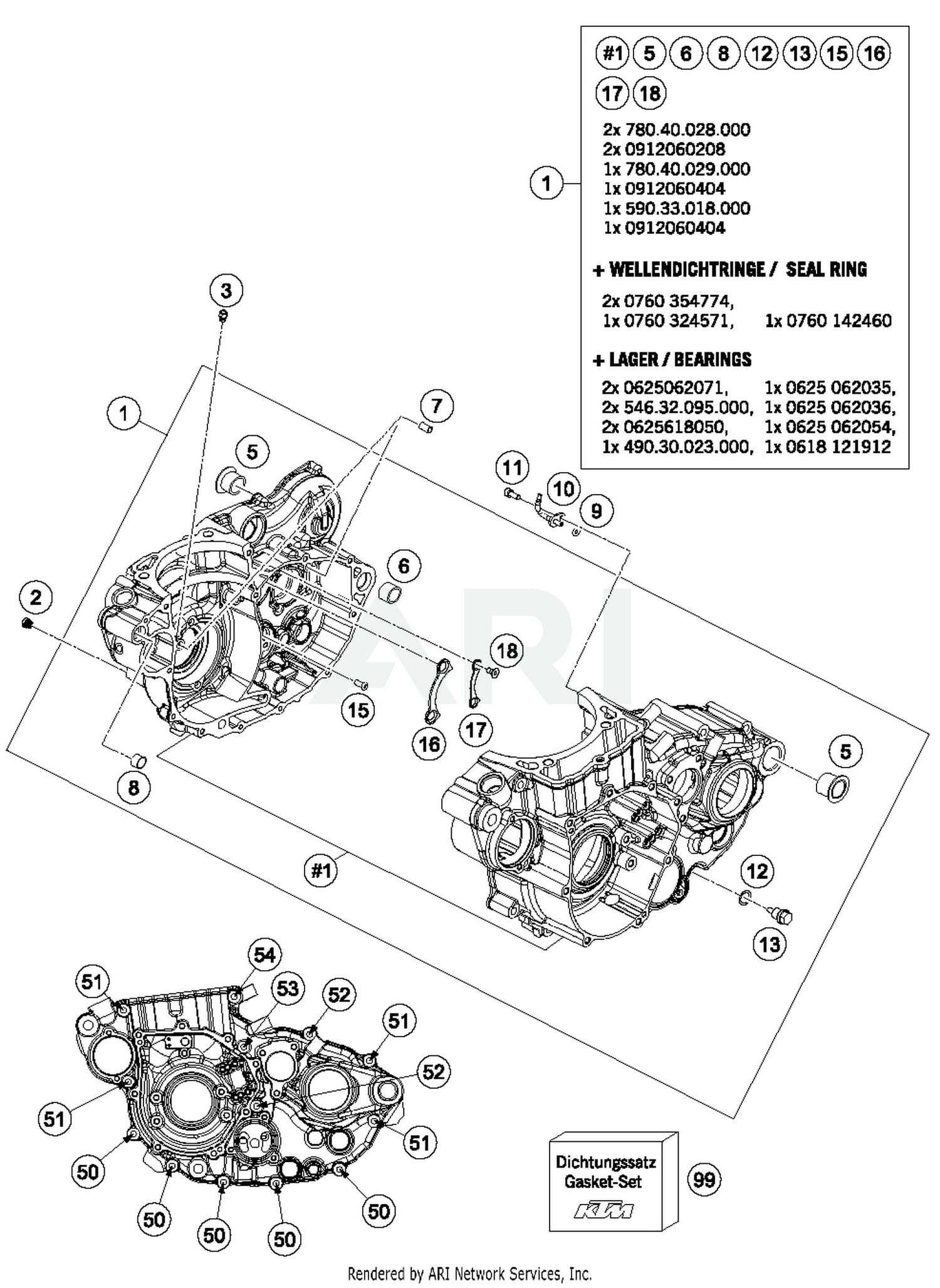 2016 ktm 500 xc w engine case parts w16 schematic search results 0