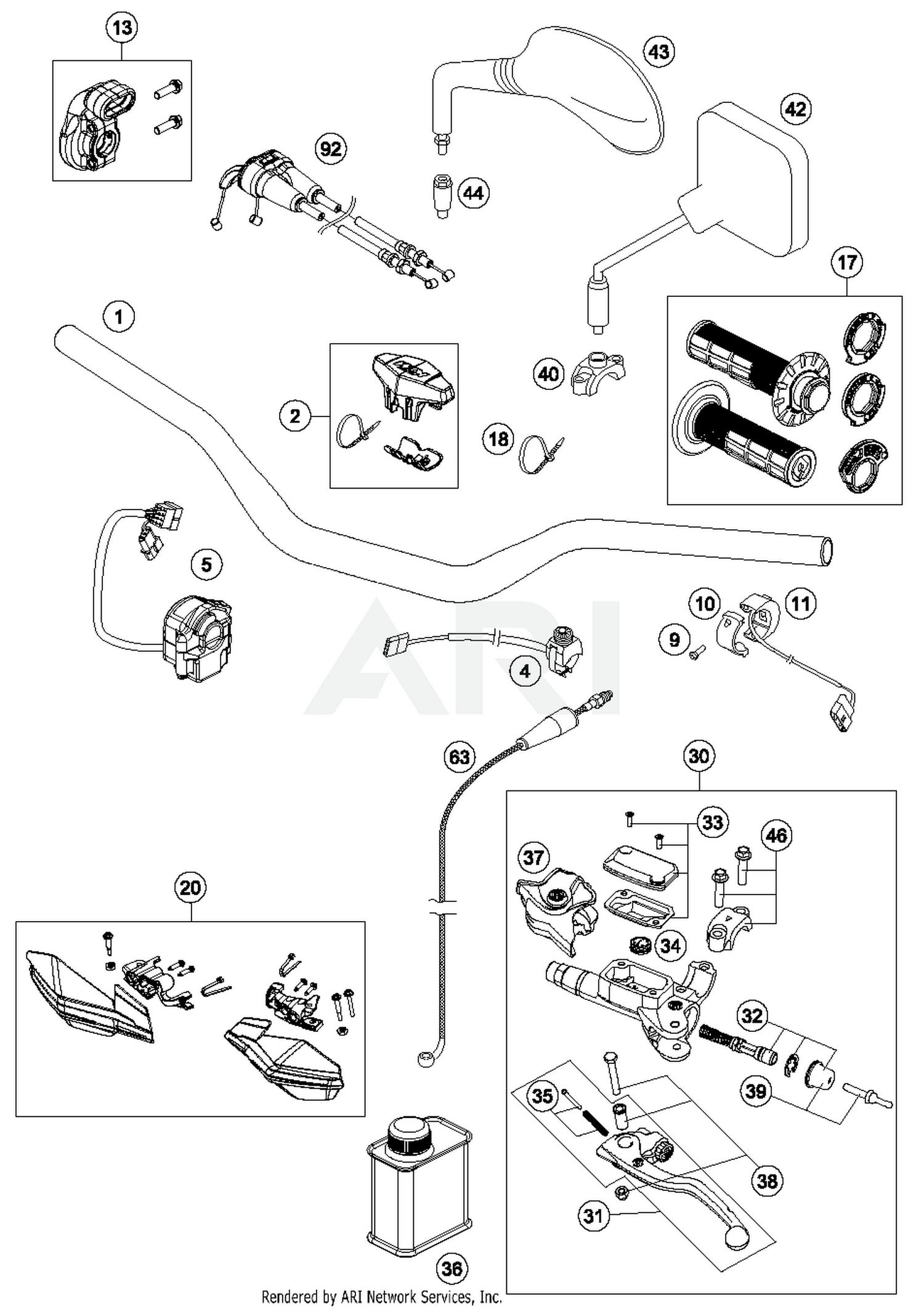 2017 Ktm 350 Exc F Handlebar Controls Parts Best Oem Engine Diagram For Motorcycles