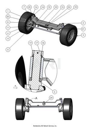 LM Trac 287 Rear axle, 4WD (optional accessory)