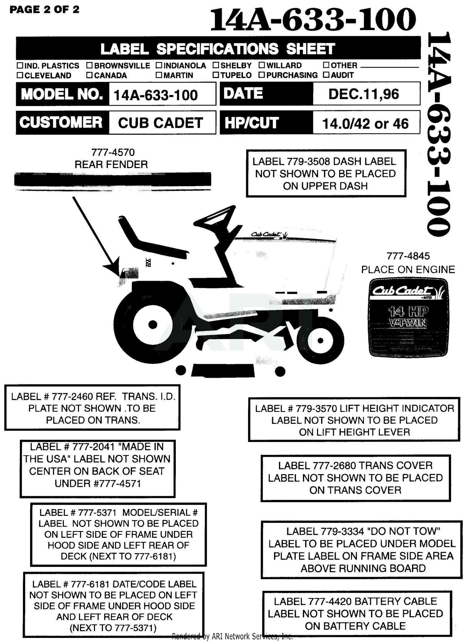 Wiring Manual PDF: 1440 Cub Cadet Electric Wiring Diagram