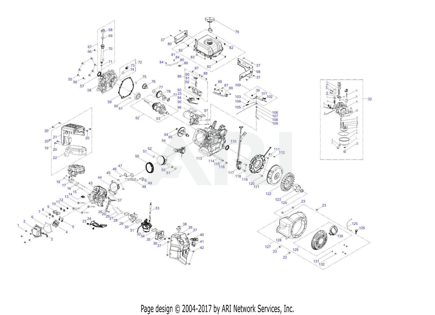 Troy Bilt 690 Wu 420cc Engine Assembly Diagram