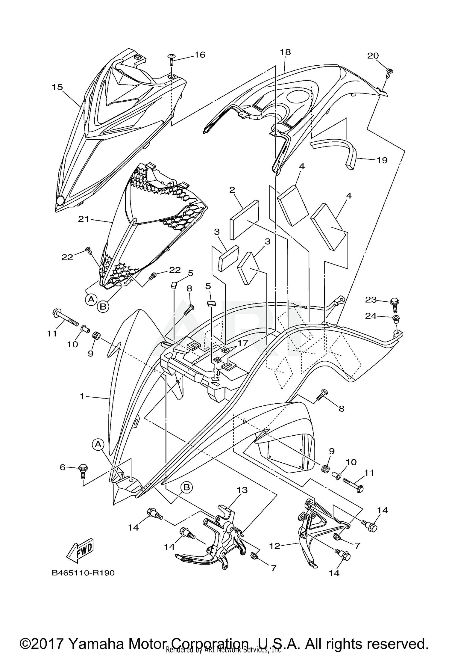 2018 Yamaha RAPTOR 700R SE - YFM70RSSJW FRONT FENDER Parts ... on