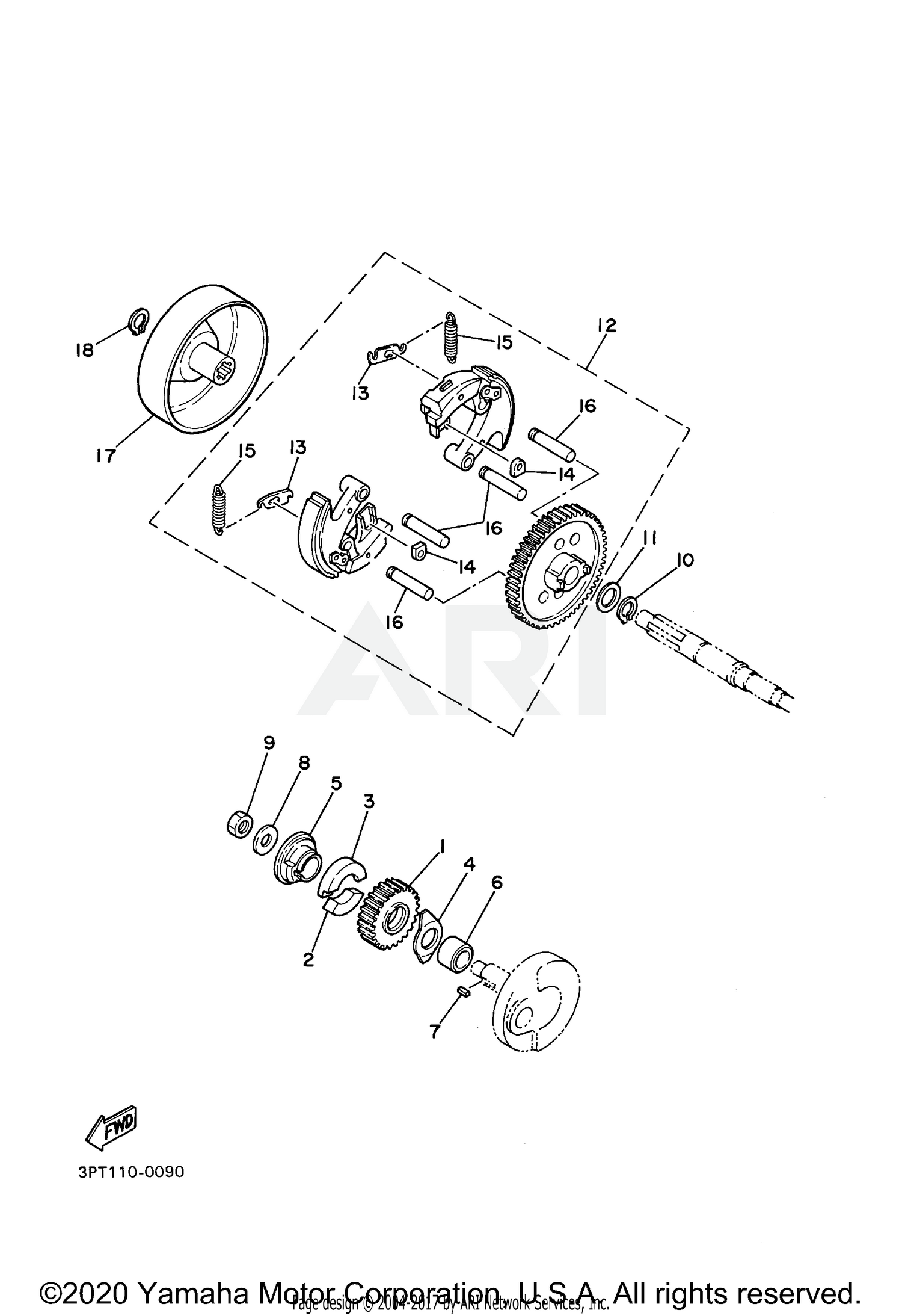 2020 Yamaha Pw50 Clutch Parts Oem Diagram For Motorcycles