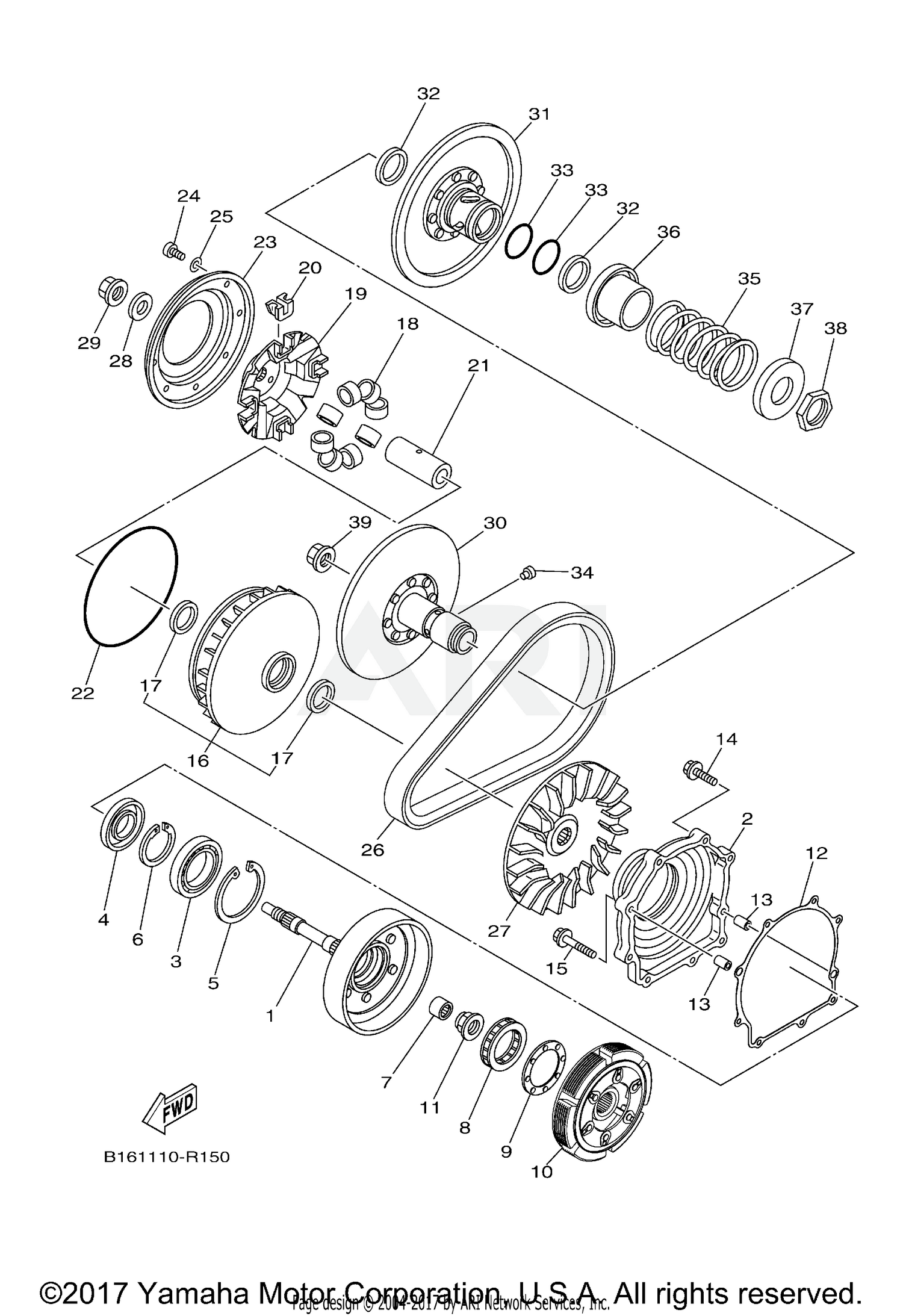2018 yamaha grizzly 700 eps yfm70gpajw clutch partsschematic search results (0 parts in 0 schematics)